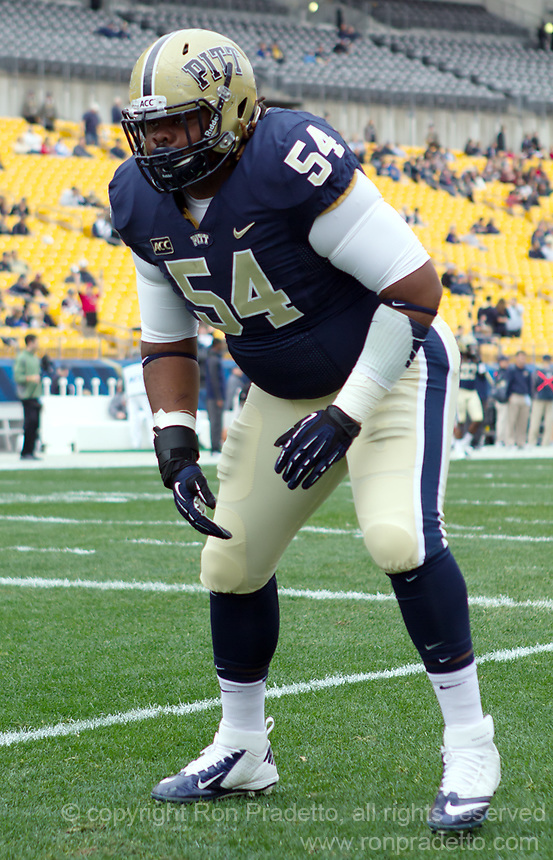 Pitt defensive tackle Tyrique Jarrett. The North Carolina Tar Heels defeated the Pitt Panthers 34-27 at Heinz Field, Pittsburgh Pennsylvania on November 16, 2013.