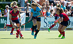 NIJMEGEN - An Nijkamp (Nijm.) met links Grace Huberts (Huizen)   tijdens  de tweede play-off wedstrijd dames, Nijmegen-Huizen (1-4), voor promotie naar de hoofdklasse.. Huizen promoveert naar de hoofdklasse.  COPYRIGHT KOEN SUYK