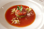 Gazpacho with avocado and tuna tartare at JiRaffe Restaurant, Santa Monica, CA