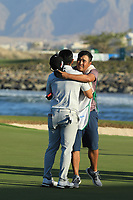 Kurt Kitayama (USA) and his brother Daniel during the final round of the Oman Open, Al Mouj Golf, Muscat, Sultanate of Oman. 03/03/2019<br /> Picture: Golffile | Phil Inglis<br /> <br /> <br /> All photo usage must carry mandatory copyright credit (&copy; Golffile | Phil Inglis)