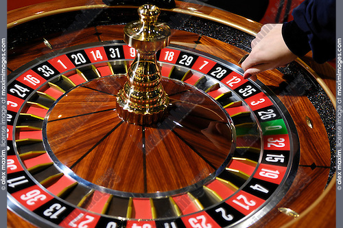 Stock photo of a Spinning casino roulette wheel Gambling and casino equipment conceptual background