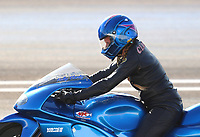 Jun 9, 2017; Englishtown , NJ, USA; NHRA pro stock motorcycle rider Kelly Clontz during qualifying for the Summernationals at Old Bridge Township Raceway Park. Mandatory Credit: Mark J. Rebilas-USA TODAY Sports