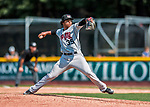4 September 2017: Tri-City ValleyCats pitcher Diogenes Almengo on the mound during the first game of a double-header against the Vermont Lake Monsters at Centennial Field in Burlington, Vermont. The ValleyCats split their games, winning 6-5 in the first, then dropping the second 7-4 in NY Penn League action. Mandatory Credit: Ed Wolfstein Photo *** RAW (NEF) Image File Available ***