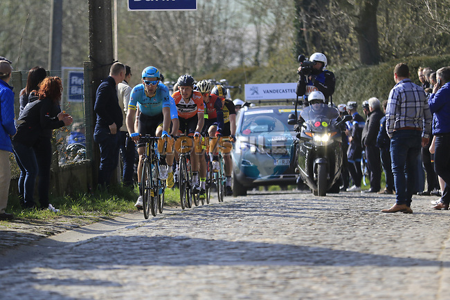 The breakaway group led by Laurens De Vreese (BEL) Astana ride to the top of the Taaienberg 18% cobbled climb during the 60th edition of the Record Bank E3 Harelbeke 2017, Flanders, Belgium. 24th March 2017.<br /> Picture: Eoin Clarke | Cyclefile<br /> <br /> <br /> All photos usage must carry mandatory copyright credit (&copy; Cyclefile | Eoin Clarke)