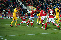 O's Macauley Bonne scores the opening goal during Wrexham vs Leyton Orient, Vanarama National League Football at the Racecourse Ground on 24th November 2018