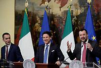 Roma, 17 Gennaio 2019<br /> Luigi di Maio, Giuseppe Conte, Matteo Salvini.<br /> Conferenza stampa al termine del Consiglio dei Ministri che ha approvato il decreto legge su Reddito di cittadinanza e pensioni