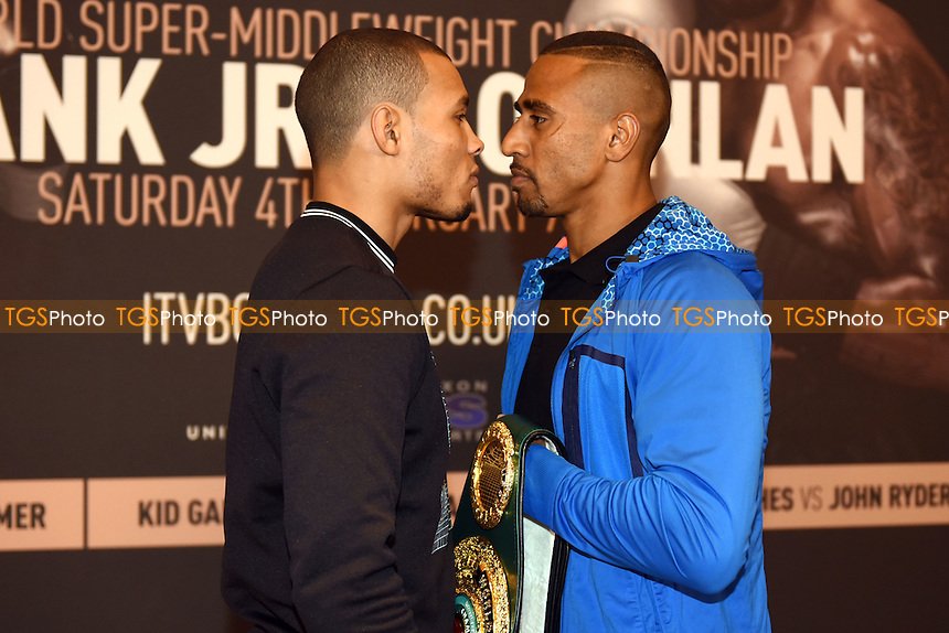 Chris Eubank Jr (L) goes head to head with Renold Quinlan during a Poxon Sports Press Conference at the Apex Room on 2nd February 2017