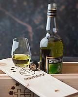 Europe/France/Rhône-Alpes/38/Isère/ Voiron:  Chartreuse verte VEP , Liqueur  des Pères Chartreux  - Stylisme : Valérie LHOMME //  France, Isere, Voiron, Green Chartreuse VEP,  Liqueurs made by the Chartreuse Monks, French liqueur