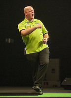09.04.2015. Sheffield, England. Betway Premier League Darts. Matchday 10.  Michael van Gerwen [NED] celebrates his win  against Stephen Bunting [ENG]