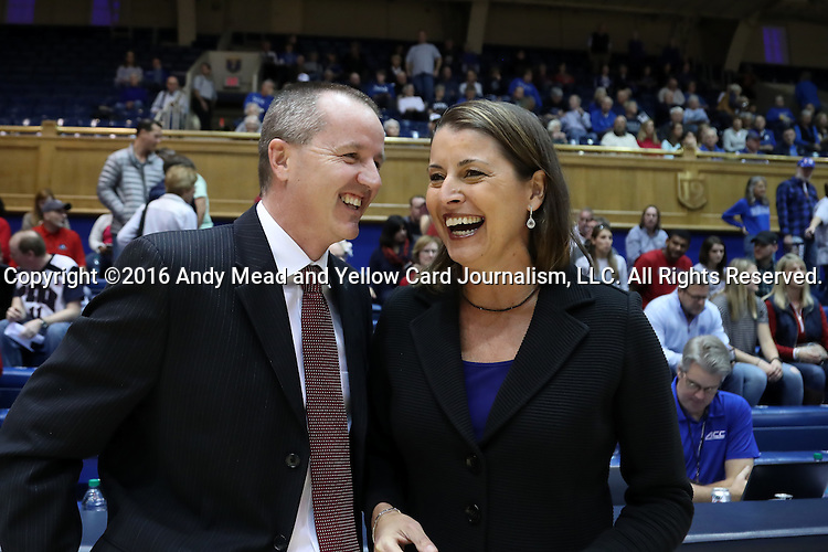 13 November 2016: Penn head coach Mike McLaughlin (left) and Duke head coach Joanne P. McCallie (right) before the game. The Duke University Blue Devils hosted the University of Pennsylvania Quakers at Cameron Indoor Stadium in Durham, North Carolina in a 2016-17 NCAA Division I Women's Basketball game. Duke defeated Penn 68-55.