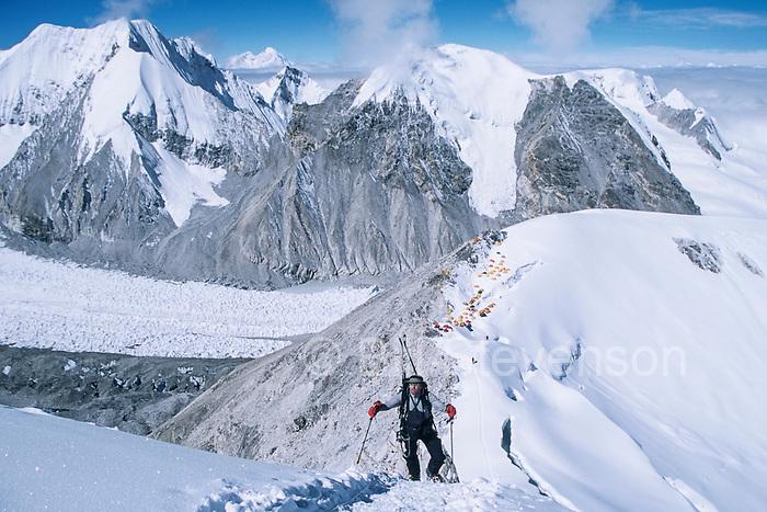 A Man Skiing in the Himalaya on Mount Cho Oyu at 23,000 Feet.