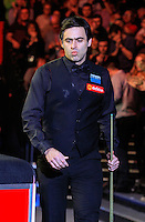 Ronnie O'Sullivan enters the arena for the final session  during the Dafabet Masters FINAL between Barry Hawkins and Ronnie O'Sullivan at Alexandra Palace, London, England on 17 January 2016. Photo by Liam Smith / PRiME Media Images