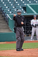 Home plate umpire Jae-Young Kim during a Midwest League game between the Wisconsin Timber Rattlers and Lansing Lugnuts at Cooley Law School Stadium on May 1, 2019 in Lansing, Michigan. Wisconsin defeated Lansing 8-3 after the game was suspended from the previous night. (Zachary Lucy/Four Seam Images)