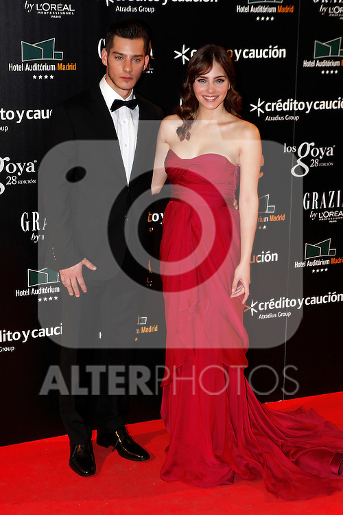 Actress Andrea Duro and Joel Bosqued attend Goya Cinema Awards 2014 red carpet at Centro de Congresos Principe Felipe on February 9, 2014 in Madrid, Spain. (ALTERPHOTOS/Victor Blanco)
