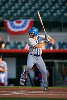 St. Lucie Mets designated hitter Anthony Dimino (13) at bat during a game against the Florida Fire Frogs on April 19, 2018 at Osceola County Stadium in Kissimmee, Florida.  St. Lucie defeated Florida 3-2.  (Mike Janes/Four Seam Images)