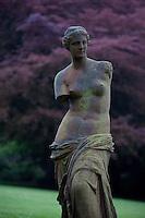 A tarnished bronze Venus in the garden