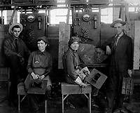 Women electric welders at Hog Island shipyard.  These are the first women to be engaged in actual ship construction, in the United States.  Ca.  1918.  Paul Thompson.  (War Dept.)<br />