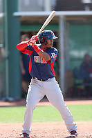 Francisco Lindor #12 of the Cleveland Indians bats during a Minor League Spring Training Game against the Cincinnati Reds at the Cincinnati Reds Spring Training Complex on March 25, 2014 in Goodyear, Arizona. (Larry Goren/Four Seam Images)