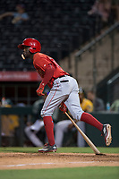 AZL Angels center fielder D'Shawn Knowles (20) follows through on his swing during an Arizona League game against the AZL Athletics at Tempe Diablo Stadium on June 26, 2018 in Tempe, Arizona. The AZL Athletics defeated the AZL Angels 7-1. (Zachary Lucy/Four Seam Images)