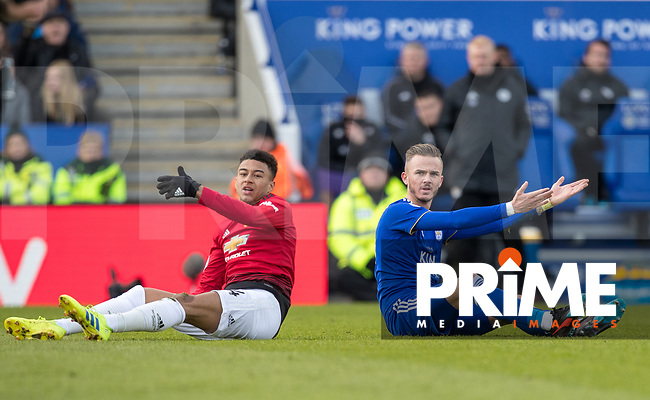 Jesse Lingard of Man Utd & James Maddison of Leicester City during the Premier League match between Leicester City and Manchester United at the King Power Stadium, Leicester, England on 3 February 2019. Photo by Andy Rowland.