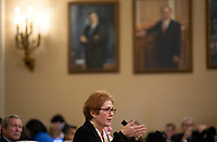 Former U.S. Ambassador to Ukraine Marie Yovanovitch testifies before the U.S. House Permanent Select Committee on Intelligence as they investigate the impeachment of US President Donald J. Trump on Capitol Hill in Washington D.C., U.S., on Friday, November 15, 2019. <br /> <br /> Credit: Stefani Reynolds / CNP/AdMedia