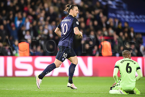 06.04.2016. Paris, France. UEFA CHampions League, quarter-final. Paris St Germain versus Manchester City.   Goal celebrations from Zlatan Ibrahimovic (PSG) as he runs past Fernando Francisco Reges (Manchester City)