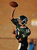 Lindenhurst quarterback No. 10 Ryan Hofmann throws a pass during the first quarter of a Suffolk County Division I varsity football game against Connetquot at Lindenhurst Middle School on Friday, September 18, 2015.<br /> <br /> James Escher