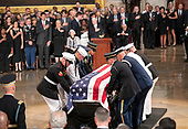 Military honor guard carries the casket containing the remains of the the late United States Senator John McCain (Republican of Arizona) into the US Capitol Rotunda for the Lying in State ceremony in his honor in Washington, DC on Friday, August 31, 2018.<br /> Credit: Ron Sachs / CNP<br /> <br /> (RESTRICTION: NO New York or New Jersey Newspapers or newspapers within a 75 mile radius of New York City)