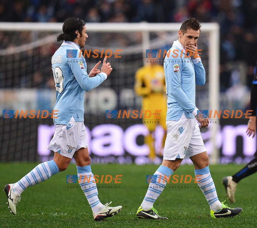 Sergio Floccari e Miroslav Klose Lazio .Roma 13/1/2013 Stadio Olimpico.Football Calcio 2012/2013 Serie A.Lazio Vs Atalanta.Foto Andrea Staccioli Insidefoto