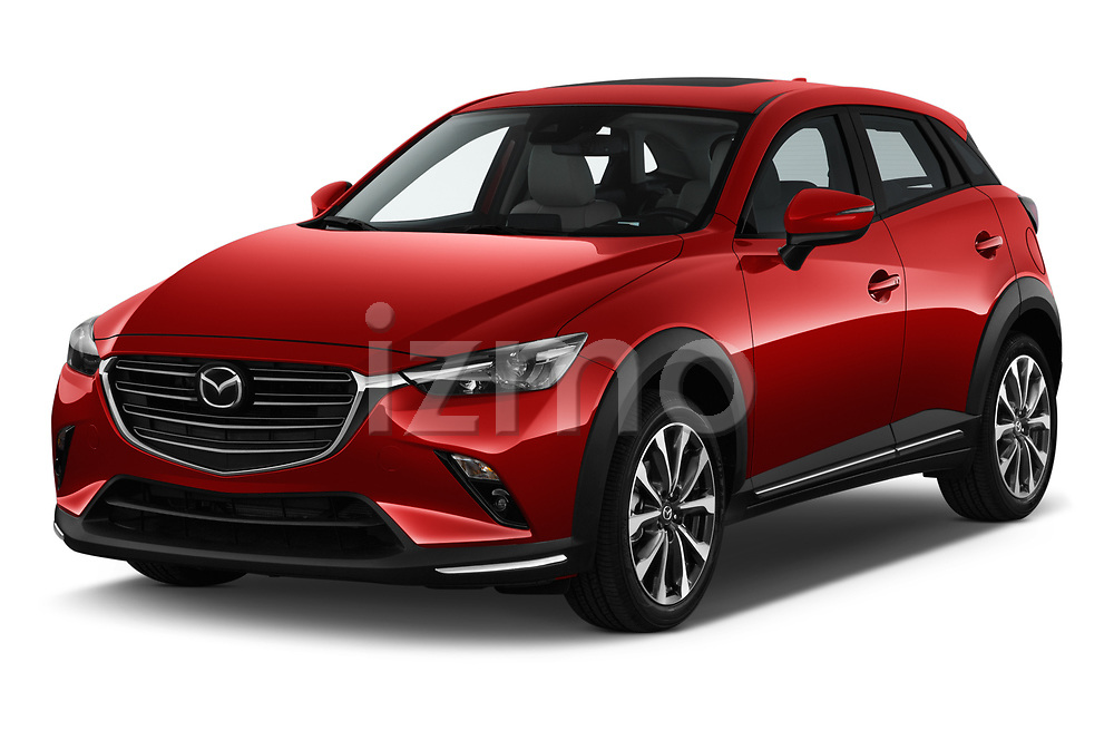 2019 Mazda CX-3 Skycruise 5 Door SUV Angular Front stock photos of front three quarter view
