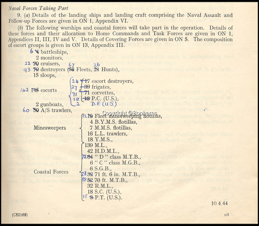 BNPS.co.uk (01202 558833)<br /> Pic: Bonhams/BNPS<br /> <br /> Details of the warships taking part in the operation.<br /> <br /> Top secret orders for the Allied invasion of Europe that should have been burned after reading have emerged for sale 72 years later.<br /> <br /> The rarely-seen documents include codenames, folding charts and instructions for the assault forces before and after the Normandy landings on June 6, 1944 - D-Day.<br /> <br /> The papers relate to Operation Neptune, the naval stage of the invasion that involved 6,000 ships laden with troops and armour crossing the English Channel in the hours before the landings.<br /> <br /> They are being sold by Bonhams on June 15 and expected to fetch £5,000.