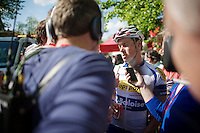 Preben Van Hecke (BEL/Topsport Vlaanderen-Baloise) interviewed post-race after his day-long breakaway efforts<br /> <br /> La Flèche Wallonne 2014