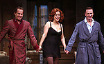 Adam James, Jennifer Tilly & Ben Daniels.during the Opening Night Curtain Call for the Roundabout Theatre Company's Broadway Production of 'Don't Dress For Dinner' at the American Airlines Theater on 4/26/2012 in New York City.