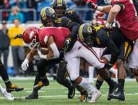 Hawgs Illustrated/BEN GOFF <br /> Joshuah Bledsoe (18) and Devin Nicholson of Missouri tackle Rakeem Boyd, Arkansas running back, in the first quarter Saturday, Nov. 29, 2019, at War Memorial Stadium in Little Rock.