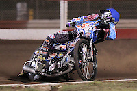 Heat 3: Stuart Robson (blue) - Lakeside Hammers vs Peterborough Panthers - Sky Sports Elite League Speedway at Arena Essex Raceway, Purfleet - 14/09/12 - MANDATORY CREDIT: Gavin Ellis/TGSPHOTO - Self billing applies where appropriate - 0845 094 6026 - contact@tgsphoto.co.uk - NO UNPAID USE.