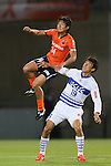 (L to R) .Shintaro Shimizu (Ardija), .Kohei Morita (Ventforet), .APRIL 10, 2013 - Football /Soccer : .2013 J.LEAGUE Yamazaki Nabisco Cup .between Omiya Ardija 1-3 Ventforet Kofu .at NACK5 Stadium Omiya, Saitama, Japan. .(Photo by YUTAKA/AFLO SPORT)