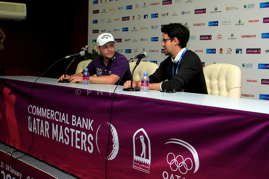 Branden Grace (RSA) in media interview during the final round of the Commercial Bank Qatar Masters played at Doha Golf Club, Doha, Qatar. 21-24 January 2015 (Picture Credit / Phil Inglis)