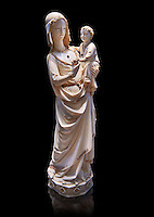 Medieval Gothic ivory statuette of the Virgin and Child with traces of polychrome, third quarter of 13th century before 1279 made in Paris. From the treasury of the Saint Chapelle, Paris. inv 67, The Louvre Museum, Paris.