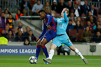 5th November 2019; Camp Nou, Barcelona, Catalonia, Spain; UEFA Champions League Football, Barcelona versus Slavia Prague;  Semedo of Barca plays the ball as his is challenged by Sevcik of Prague - Editorial Use