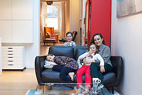 Jelena Cousins with her daughters Sophie, Isabella and Imogen