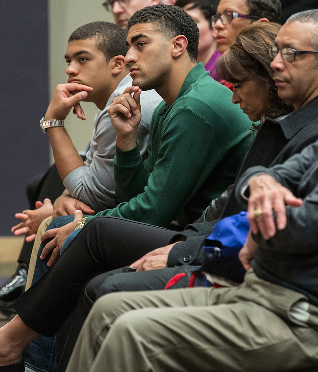 Members of Dave Leitao family watch as he is introduced as the new head coach of Depaul University's men's basketball program during a press conference Monday, March 30, 2015, at the university's Lincoln Park Campus. (DePaul University/Jamie Moncrief)