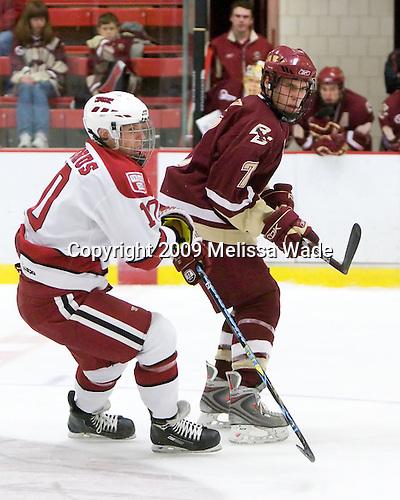 Eric Kroshus (Harvard - 10), Carl Sneep (BC - 7) - The Boston College Eagles defeated the Harvard University Crimson 3-2 on Wednesday, December 9, 2009, at Bright Hockey Center in Cambridge, Massachusetts.