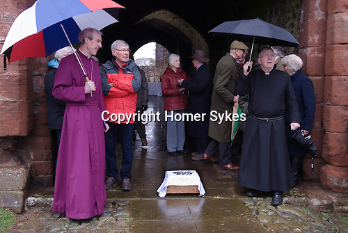 The Lady Anne Clifford Dole Ceremony Brougham Castle, Cumbria 2016. The Bishop of Carlisle James Newcome and the Rev Alan Maguire. Four hundredth anniversary of the dole ceremony.