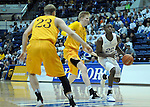 February 4, 2017:  Air Force guard, Pervis Louder #22, drives the lane during the NCAA basketball game between the Wyoming Cowboys and the Air Force Academy Falcons, Clune Arena, U.S. Air Force Academy, Colorado Springs, Colorado.  Wyoming defeats Air Force 83-74.