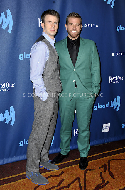 WWW.ACEPIXS.COM......April 20, 2013, Los Angeles, CA.....Scott Evans and Chris Evans arriving at the 24th Annual GLAAD Media Awards held at the JW Marriott Los Angeles at L.A. LIVE on April 20, 2013 in Los Angeles, California. ..........By Line: Peter West/ACE Pictures....ACE Pictures, Inc..Tel: 646 769 0430..Email: info@acepixs.com