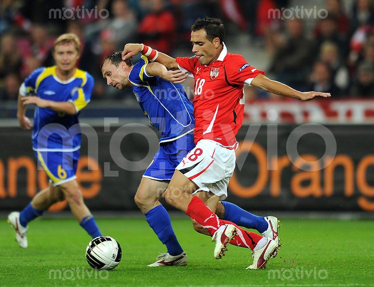 FUSSBALL INTERNATIONAL  EM 2012 - Qualifikation  SAISON 2010/2011    Oesterreich - Kasachstan      07.09.2010 Yevgeny Averchenko (li, Kasachstan) gegen Ekrem DAG (re, Oesterreich)