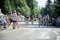 Sep Vanmarcke (BEL/Belkin) going for a handed out water bottle<br /> <br /> 2014 Tour de France<br /> stage 13: Saint-Etiènne - Chamrousse (197km)