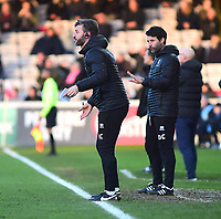 Lincoln City's assistant manager Nicky Cowley, left, and Lincoln City manager Danny Cowley shouts instructions   from the technical area<br /> <br /> Photographer Andrew Vaughan/CameraSport<br /> <br /> The EFL Sky Bet League Two - Lincoln City v Port Vale - Tuesday 1st January 2019 - Sincil Bank - Lincoln<br /> <br /> World Copyright &copy; 2019 CameraSport. All rights reserved. 43 Linden Ave. Countesthorpe. Leicester. England. LE8 5PG - Tel: +44 (0) 116 277 4147 - admin@camerasport.com - www.camerasport.com