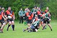 RUGBY: GORREDIJK: Sportpark Kortezwaag, 26-05-2013, Friesland Cup, Drachtster Rugbyclub - RC De Wrotters (groen) Suzan Zijlstra als enige vrouw tussen de mannen, ©foto Martin de Jong