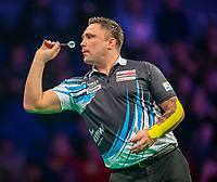 12th March 2020; M and S Bank Arena, Liverpool, Merseyside, England; Professional Darts Corporation, Unibet Premier League Liverpool; Gerwyn Price with tape on his arm during his night six match against Michael van Gerwen
